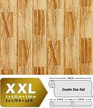 Holz Tapete Vliestapete EDEM 945-21 Geprägte Tapete in Holzoptik Dielen Römische Zahlen kiefer-gelb antik-gelb 10,65 qm