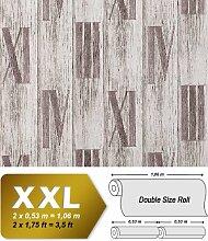 Holz Tapete Vliestapete EDEM 945-24 Geprägte Tapete Holzoptik Dielen Römische Zahlen Deko Eiche weiß hell-grau 10,65 qm