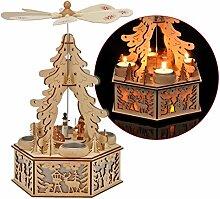 Holz Teelicht Weihnachtspyramide 34cm - Weihnachts Deko Pyramide LED Beleuchtung