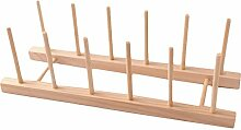 Holz-Tellerregal, 3 Stück, Bambus,