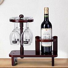 Holz Tisch Weinregal für 4 Gläser und 1 Flasche