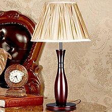 Holz Tischlampe, E27 Lichtquelle Stoff