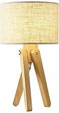 Holz Tischlampe Stoff Nachttisch-Leuchte Textil