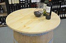 Holz Tischplatte Nussbaumoptik D80 cm - 3fach verleimte Fichte (Natur hell)
