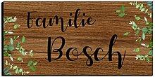 Holz Türschild mit Namen für die Haustür |
