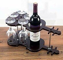 Holz Violine Weinflaschenständer und Goblet Glas