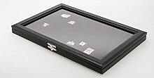 Holz-Vitrine für 100 Pin's schwarz Modellnr.