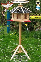 Holz-Vogelhaus-Blockhaus mit Landebahn + LED -