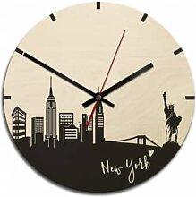 Holz-Wanduhren - Holz-Wanduhr - Skyline New York
