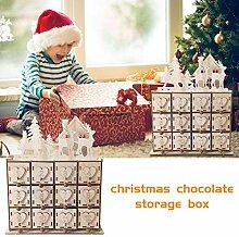 Holz Weihnachten Adventskalender Aufbewahrungsbox,