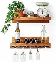 Holz Weinregal mit Glashalter zur Wandmontage,