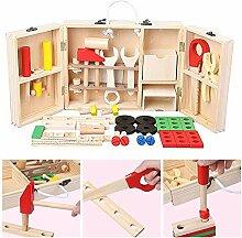 Holz Werkzeugkoffer Kinder Werkzeug Spielzeug