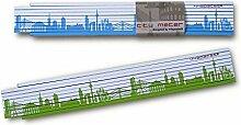 Holz-Zollstock DÜSSELDORF Skyline grün/blau Gliedermaßstab, 2m Maßstab für Hobby Heim- und Handwerker, Geschenkidee Gastgeschenk Einladung Umzug Einzug Geburtstag, für Düsseldorf Freunde von 44spaces