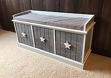 Holzbank mit Stauraum im Shabby-Chic-Design, mit 3Schubladen für Kinderzimmer, grau-weiß