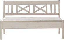 Holzbank mit Stauraum Weiß Kiefer massiv