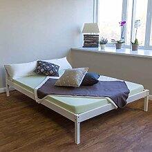 Holzbett Doppelbett Futonbett 140x200 weiß