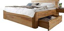 Holzbett mit geteiltem Kopfteil Schubladen