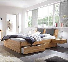 Holzbett mit Klemmkissen in Schwarz Kernbuche