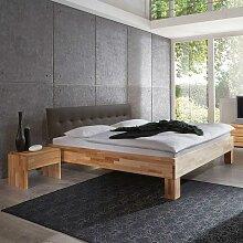 Holzbett mit Nachtkonsole Polsterkopfteil in Braun