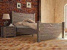 Holzbett Rustikal 30 massiv grau - Abmessung: 180 x 200 cm