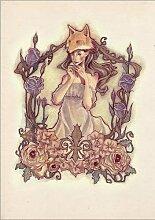 Holzbild 50 x 70 cm: Fox Lady von anja uhren