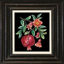 Holzbild Granatäpfel 50x50 cm bunt Holzbilder