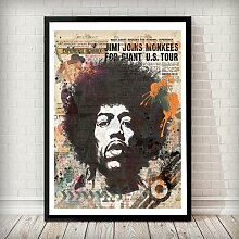 Holzbild Jimi Hendrix East Urban Home Rahmenart: