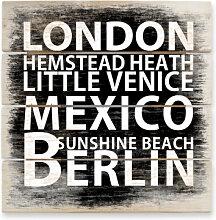 Holzbilder - Holzbild London - Mexico - Berlin