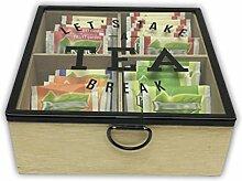 Holzbox Teebox für Teebeutel Holz hellbraun