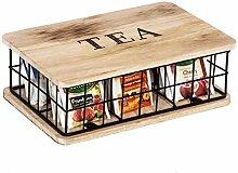 Holzbox Teebox für Teebeutel Metall Gitter