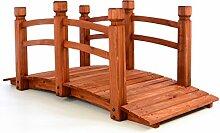 Holzbrücke Teichbrücke Teich Garten Holz Brücke mit Geländer rot - braun, Belastbarkeit bis max. 150 kg, L x B x H ca. 150 x 67 x 65 cm