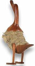 Holzente aus Natur Bambuswurzel und Teak-holz braun gebeizt als Gartendeko geeignet Höhe 40cm