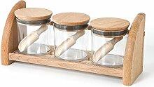 Holzfee Gewürzbord 3 x 250 ml mit Gewürzschütten