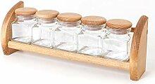 Holzfee Gewürzbord mit 5 Glas-Gewürzdosen (leer)