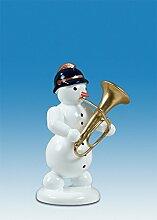 Holzfigur Weihnachtsfigur Schneemann mit Tuba