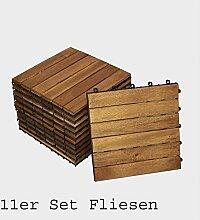 Holzfliese 01 Akazie 11er Spar Set Terrasse Balkon