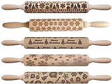 Holzgeprägter Teig Nudelholz Graviertes Gebäck