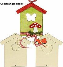 Holzhaus flach 3er Set blanko / unbemalt ✓ ca. 15,5 x 13,5 cm, 4mm dick ✓ Häuser Sperrholz gelasert ✓ 3 ver. Motive ✓ DIY basteln ✓ Deko-Idee Tür-Dekoration ✓ Bastelset   trendmarkt24 - 409155