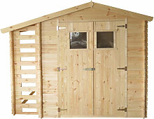 Holzhaus Gartenhaus mit Brennholzschuppen TIMBELA