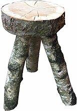 Holzhocker aus Kirsche mit Birkenfüßen - Palettenmöbel