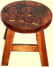 Holzhocker Elefant - Akazienholz - Handarbei