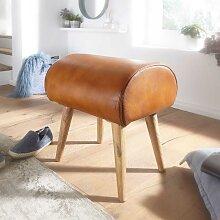Holzhocker mit Echtleder Sitzfläche in Cognac