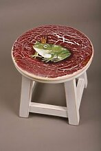 Holzhocker mit handgemalten Farben Frosch