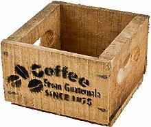 Holzkiste Coffee Kaffee Design Motiv Vintage-Used Design 10x14x15cm braun Weinkisten Landhaus Kolonial