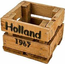 Holzkiste Holland 1967 Design Motiv Vintage-Used Design 12x16x17cm braun Weinkisten Landhaus Kolonial