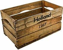 Holzkiste Holland 1967 Design Motiv Vintage-Used Design 30x59x35cm braun Weinkisten Landhaus Kolonial