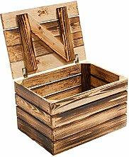 Holzkiste mit Deckel geflammt *klein* 48x36x28cm