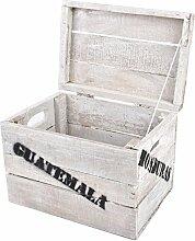 Holzkiste mit Deckel Süd Amerika Vintage-Used 15x25x20cm weiss