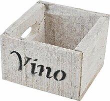 Holzkiste Vino Wein Design Motiv Vintage-Used Design 10x14x15cm weiss Weinkisten Landhaus Kolonial