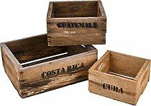 Holzkisten 3er Set Cuba Süd Amerika Motiv Vintage-Used Design braun Weinkisten Landhaus Kolonial